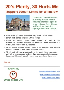 Transition Wilmslow Transport Group Meeting 28th June 2012 20s Plenty Leaflet