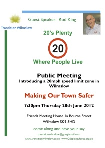 Transition Wilmslow Transport Group Meeting 28th June 2012 20s Plenty Poster